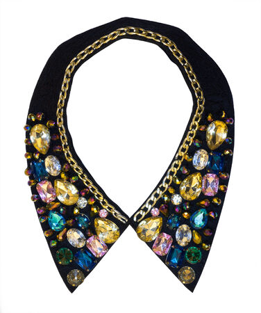 decorative collar decorated with fashion jewelry on white background