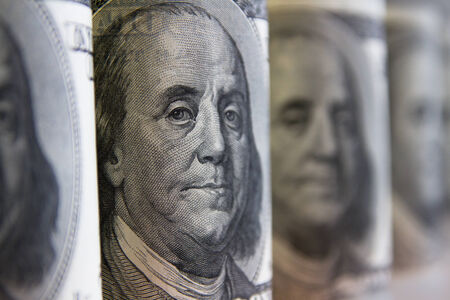 Collage, banknotes of the American dollars, selective focus Stock Photo