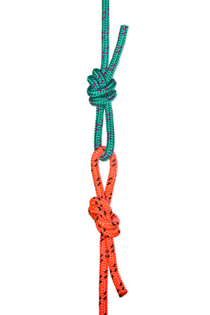 cordage: Two rope loops. Collection of photos - knots used in mountaineering and rock-climbing