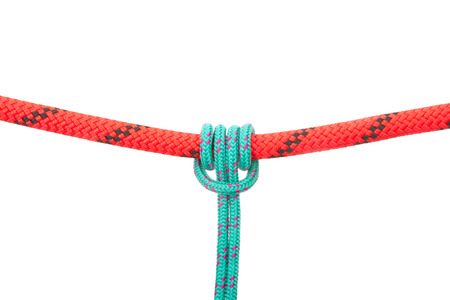 Rope Knot grasping horizontal load. Collection of photos - knots used in mountaineering and rock-climbing Stock Photo