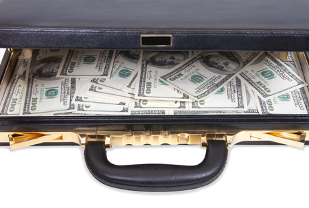 Open case with money on white background Stock Photo