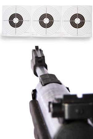gun sight on targets, focus on targets Stock Photo