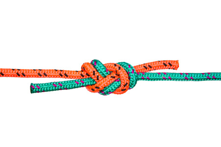 nylon string: Eight knot. Collection of photos - knots used in mountaineering and rock-climbing Stock Photo