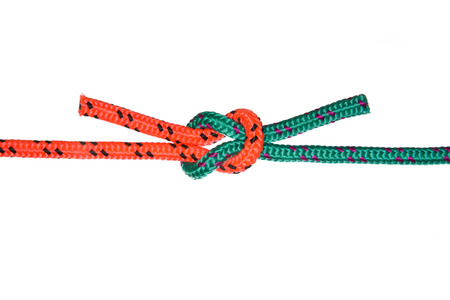 nylon string: «The Reef Knot». Collection of photos - knots used in mountaineering and rock-climbing