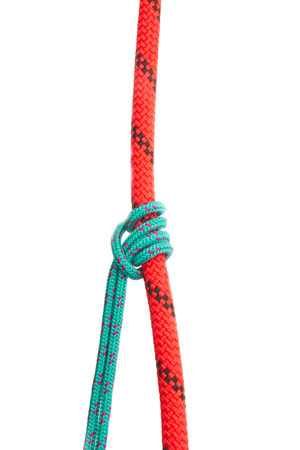 Knot grasping vertical load. Collection of photos - knots used in mountaineering and rock-climbing Stock Photo