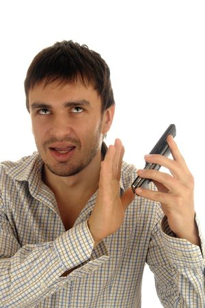man phone emotion unpleasant                                Stock Photo - 6525921