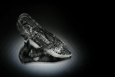 kristal schoen in een wit licht  Stockfoto