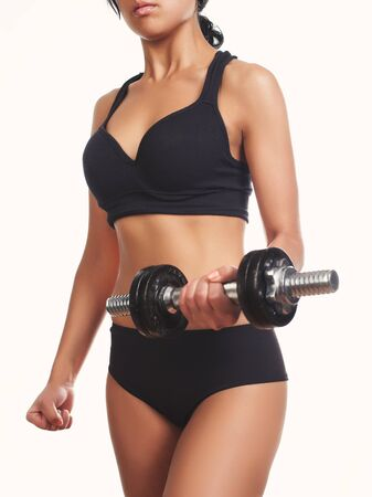 fit girl: Close up image of middle eastern female in sports clothing Stock Photo