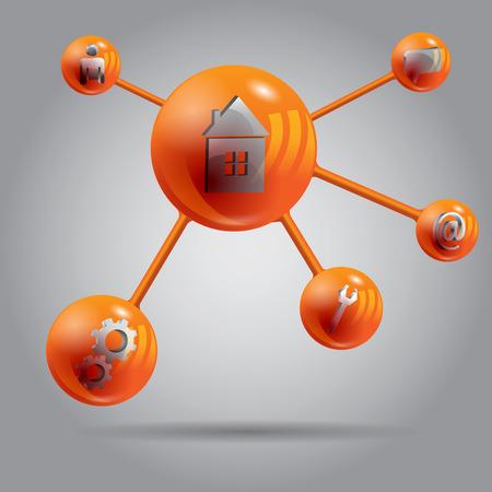 red ball: Abstract web orange molekule design eps 10