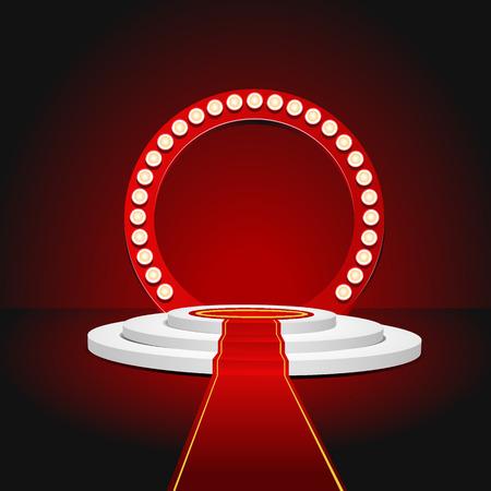 luz roja: Retro podio etapa rojo para entrega de premios. Ilustraci�n vectorial eps 10