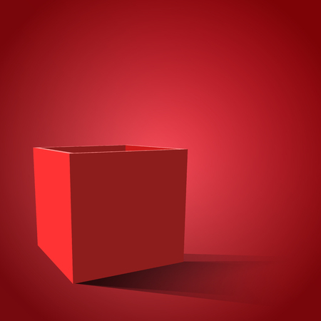 red  open: Red open box with realistic shadows. Vector illustration eps 10
