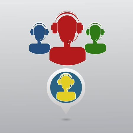 handsfree: Call center operator with headset web icon. Vector eps 10 Illustration