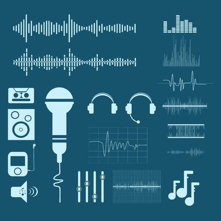 sonido: Vector de formas de onda de sonido. Sonido e iconos musicales eps 10 Vectores