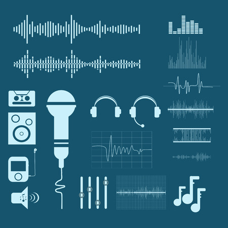 wave: Vector Sound Waveforms. Sound and musical  icons eps 10