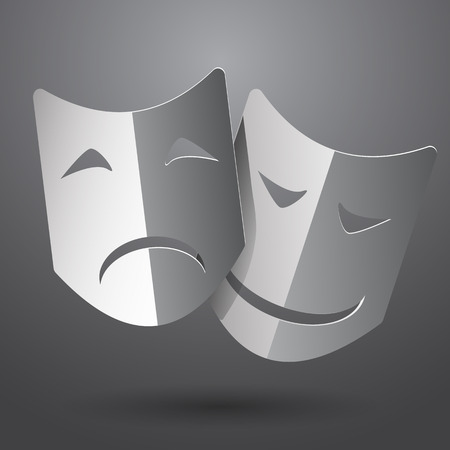 moods: Theater icon with happy and sad masks vector eps10