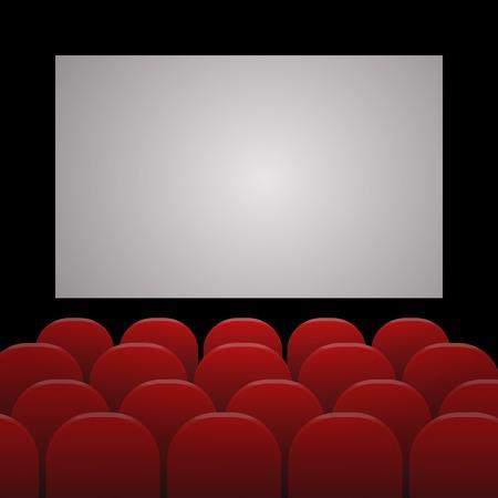 teatro: Filas de cine o teatro asientos rojos en frente de la pantalla en blanco blanco con el espacio de texto de ejemplo eps 10