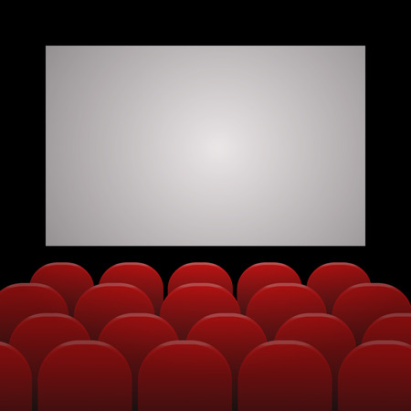 cinema screen: Rows of red cinema or theater seats in front of white blank screen with sample text space eps 10