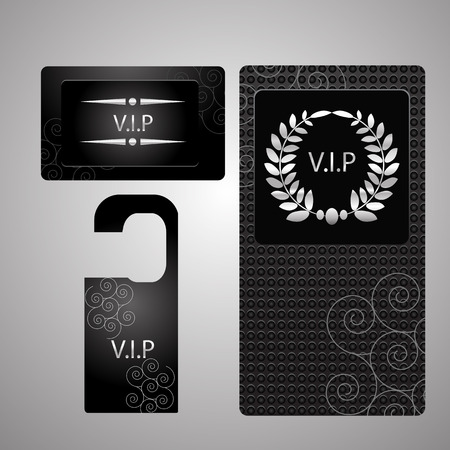 black and silver: Vip members only premium  cards black silver design template set isolated vector illustration eps 10 Illustration