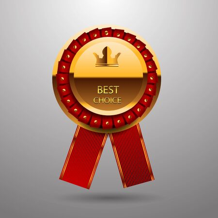 10 best: Vector best choice gold red label with ribbons eps 10 Illustration