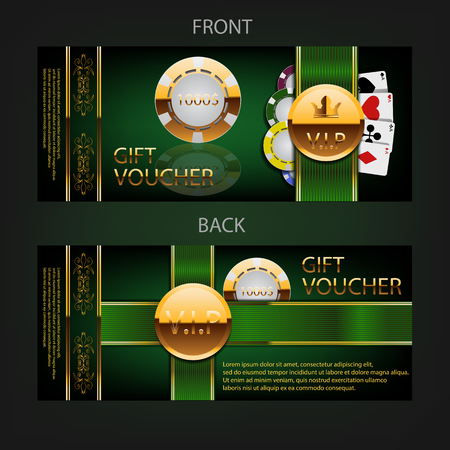 eps 10: green and black voucher with golden decoration eps 10