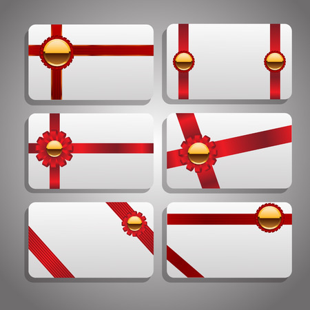ribbons and bows: Set of beautiful cards with red gift bows with ribbons Vector eps 10