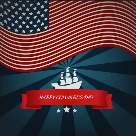 voyager: Happy Columbus Day card vector eps 10 Illustration