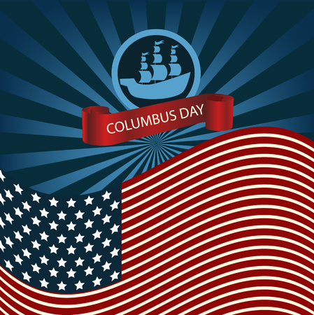christopher columbus: Happy Columbus Day Ship Holiday Poster United States America Flag Vector Illustration eps 10 Illustration