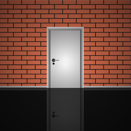 white door: Realistic  brick wall and closed white door interior illustration eps 10