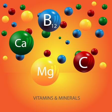 vitamina a: Las vitaminas y los minerales del fondo del vector EPS 10