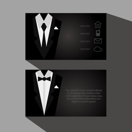 tuxedo: eps10 Vector black business cards with elegant suit and tuxedo