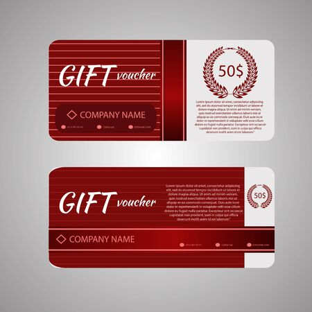 facture restaurant: Gift voucher template with colorful lne pattern eps 10 vector illustration