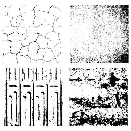 Set of  four texture Stamp eps 10 Grunge and crack