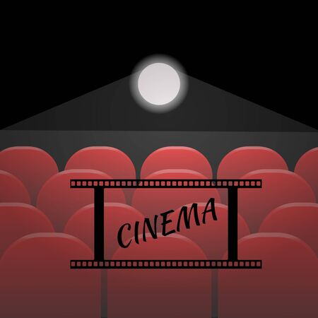 theater seats: Rows of red cinema or theater seats  of vector eps 10