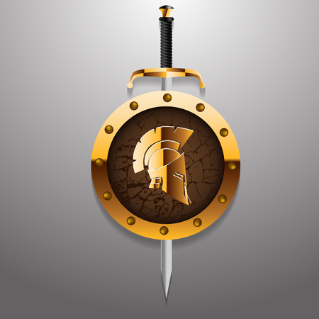 cascos romanos: Antig�edades romano o casco griego para los soldados protecci�n de la cabeza con la espada y oro tabla de ilustraci�n vectorial eps 10