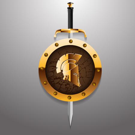 soldati romani: Antiquariato romano o elmo greco per i soldati di protezione della testa con la spada e dorata bordo illustrazione vettoriale eps 10