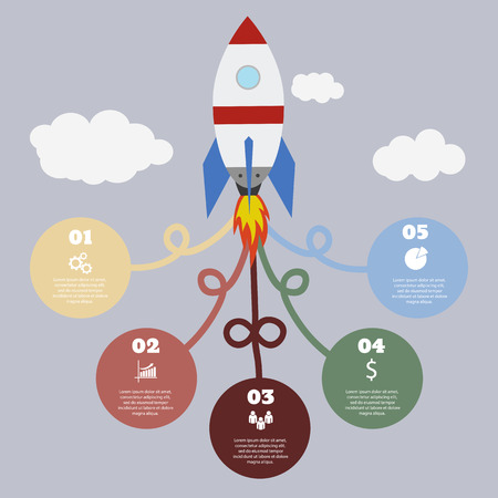 Infographic template with colored circles and rocket on the gray background Eps 10 vector