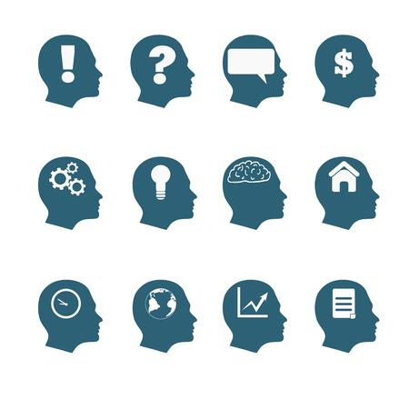 human mind: Human mind icons style flat design