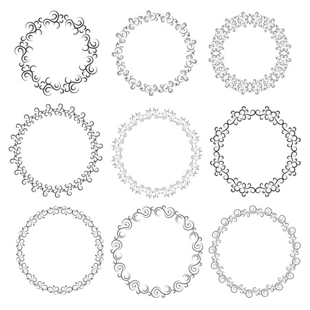 wreath set: Hand drawn vintage floral wreath set with place for your text set eps 10