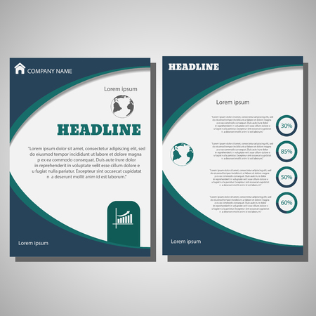 Vector Brochure Flyer design size A4, Front page and back pages eps 10 Ilustração