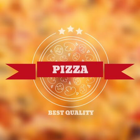 Italian colored pizza label or logo on red blurred background with text eps 10 vector Logo