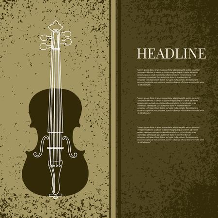 abstract  grunge vintage sound background with violin design