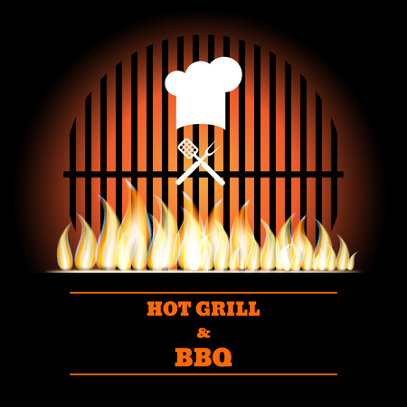 grille: Bbq fire grille creative design illustration.