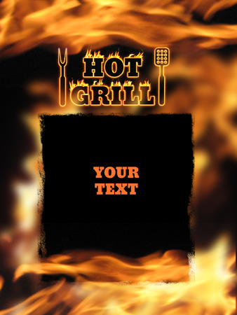 fire place: Hot grill fire place your text illustration for bbq shop