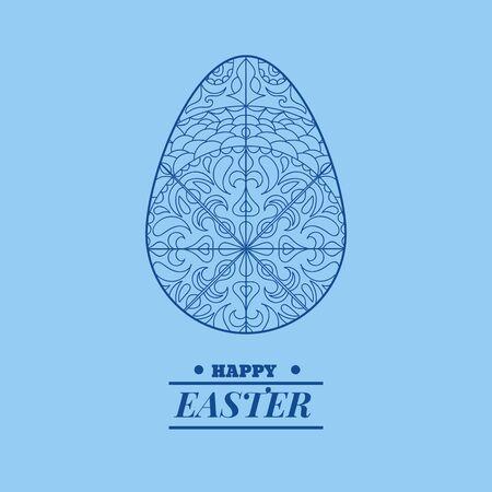 Azul feliz Pascua tarjeta fondo huevo vacaciones Vector eps 10