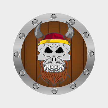 Viking warrior skull vector hdnd drawn eps 10