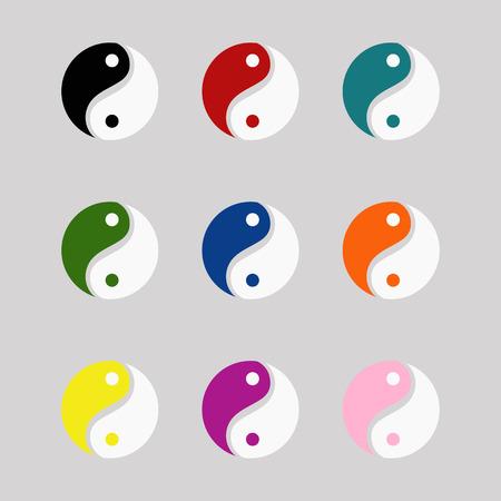 Yin yang symbols set colorful vector icons eps 10