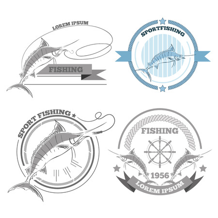Labels of marlin fishing emblems badges design elements eps 10