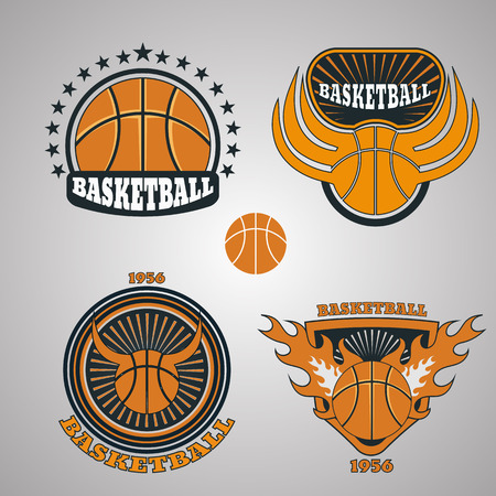set of basketball team emblem vector eps 10