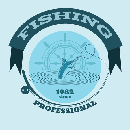 marline: Vector illustration of marline fish in waves  retro blue paper vector illustration logo and emblem for fishing clubs eps 10