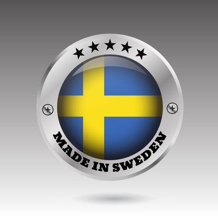 Big made in Sweden button flag symbol  vector eps10 illustration Illustration
